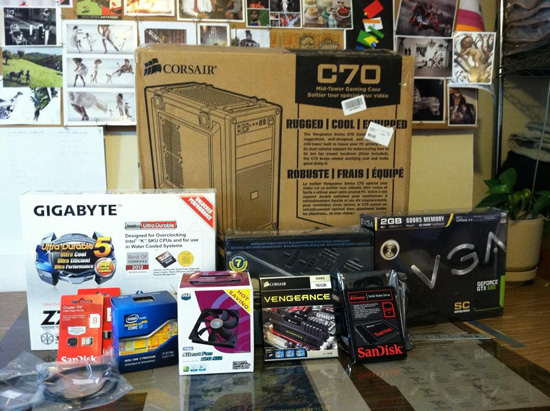 The components for my Hackintosh, all in boxes