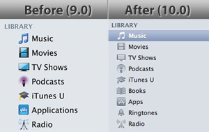 comparison of iTunes icons