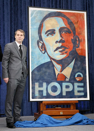 Shepard Fairey with Obama portrait