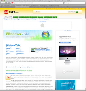 Mac ad on Vista homepage
