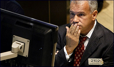 Wall St. trader with something on his mind