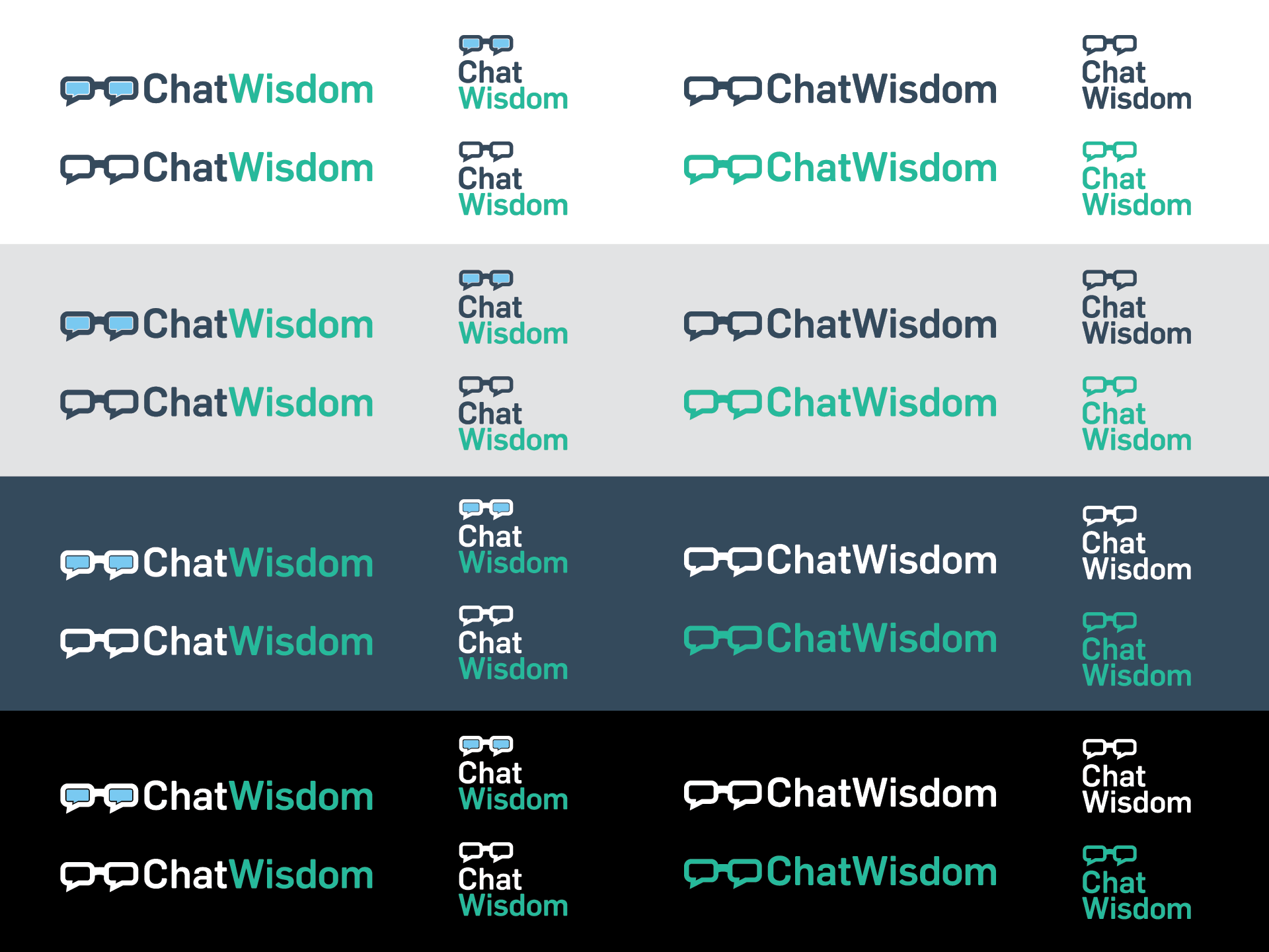 ChatWisdom logo system in multiple colour versions