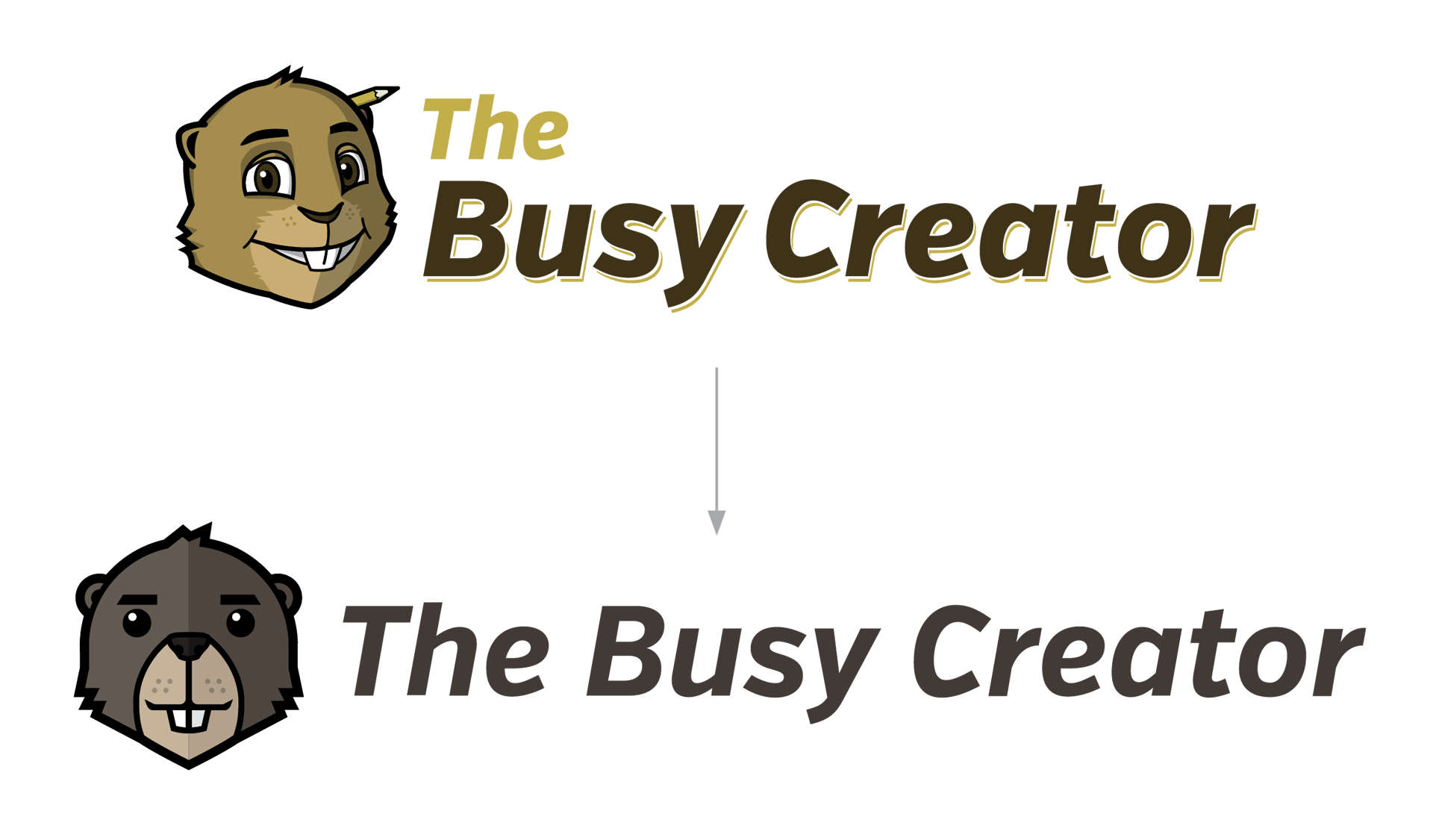 The Busy Creator logo before-and-after