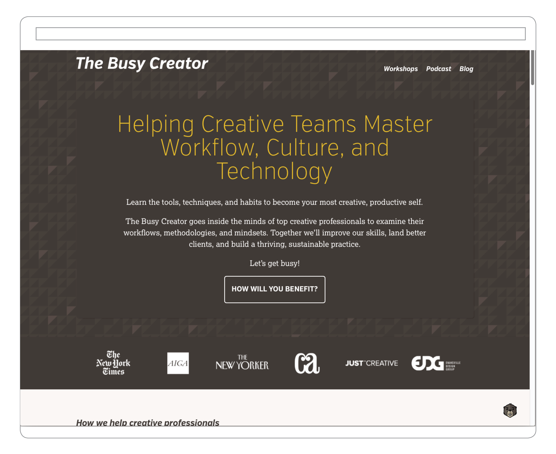 The Busy Creator website